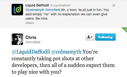 Twitter   mrcfield   LiquidDaffodil  colmsmyth ...